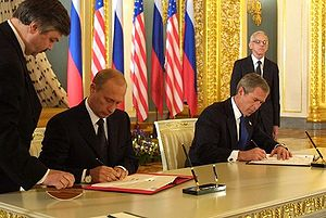 Anti-Ballistic Missile Treaty - Presidents Vladimir Putin and George W. Bush sign SORT on 24 May 2002 in Moscow