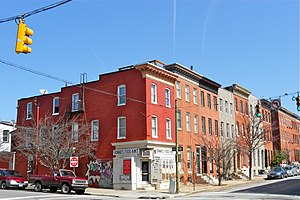 Butchers Hill, Baltimore - The corner of Chester and Pratt Streets, March 2012
