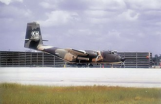 Cam Ranh Base - C-7B Serial No 63-9725 of the 535th Tactical Airlift Squadron - October 1971. It is believed that this aircraft along with other C-7s from the 483d TAW was transferred to the Republic of Vietnam Air Force in 1972 after the 483d was inactivated.
