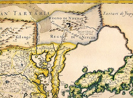 "An Italian map showing the ""Kingdom of the Nuzhen"" or the ""Jin Tartars"", who ""have occupied and are at present ruling China"", north of Liaodong and Korea, published in 1682. Manchuria is the homeland of the Manchus, the designation introduced in 1635 for the Jurchen. CEM-36-Regno-di-Nivche-2429.jpg"