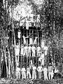 COLLECTIE TROPENMUSEUM Groepsportret tijdens de bouw van een watertoren door timmermanswinkel Batiren en Co Kabandjahe TMnr 10014637.jpg