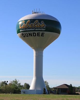 Dundee, Michigan - Municipal water tower constructed in 1999.