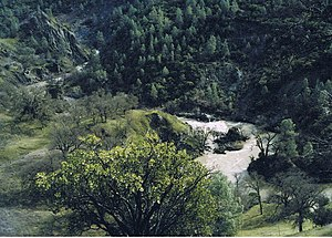 Cache Creek (Sacramento River tributary) - Cache Creek, in a canyon with native chaparral and woodlands habitat vegetation, in Lake County, northern California