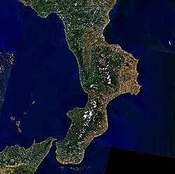 Satellite view of Calabria