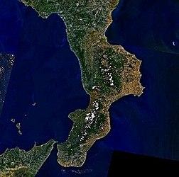 La Calabria vista dal satellite.