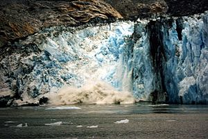 English: Calving glacier at at Alaska