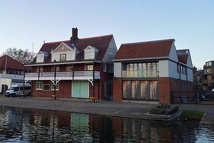 The boathouse of the Cambridge University Boat Club Cambridge boathouses - Goldie.jpg