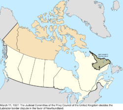 Map of the change to Canada on March 11, 1927