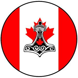 Heathenry in Canada - A shield combining the Canadian Flag with Mjollnir, which is the most commonly used Heathen symbol.