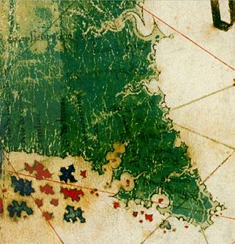 History of Florida - A depiction of what might be Florida from the 1502 Cantino map