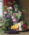 Carl Balsgaard - Opstilling med roser, vase og frugtfad i en vindueskarm.png