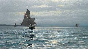 Carl Wilhelm Bøckmann Barth - Image: Carl Wilhelm Barth Seilskuter og glitrende sjø 1893