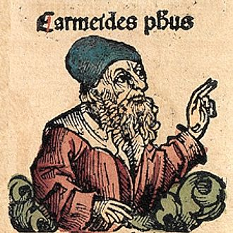 "Carneades - Carneades, depicted as a medieval scholar in the Nuremberg Chronicle, where he is called ""Carmeides""."