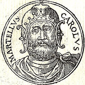 "Charles Martel - Charles Martel depicted in the French book ""Promptuarii Iconum Insigniorum"" by Guillaume Rouille, published in 1553"