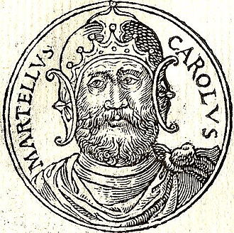 "Charles Martel - Charles Martel depicted in the French book ""Promptuarii Iconum Insigniorum"" by Guillaume Rouillé, published in 1553"