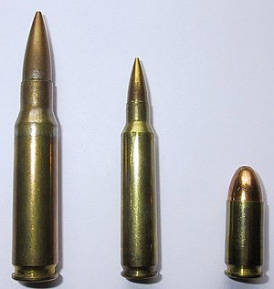 7.62×51mm NATO - Comparison of 7.62mm NATO, 5.56mm NATO and 9mm NATO.