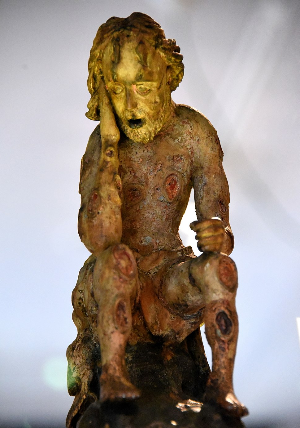 Carved wooden figure of Job. Probably from Germany, 1750-1850 CE. The Wellcome Collection, London