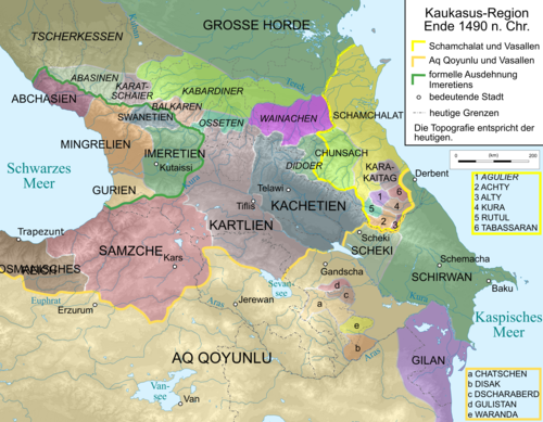 Map of Caucasus Region 1490. Caucasus 1490 map de.png