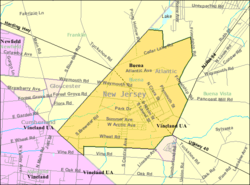 Census Bureau map of Buena, New Jersey