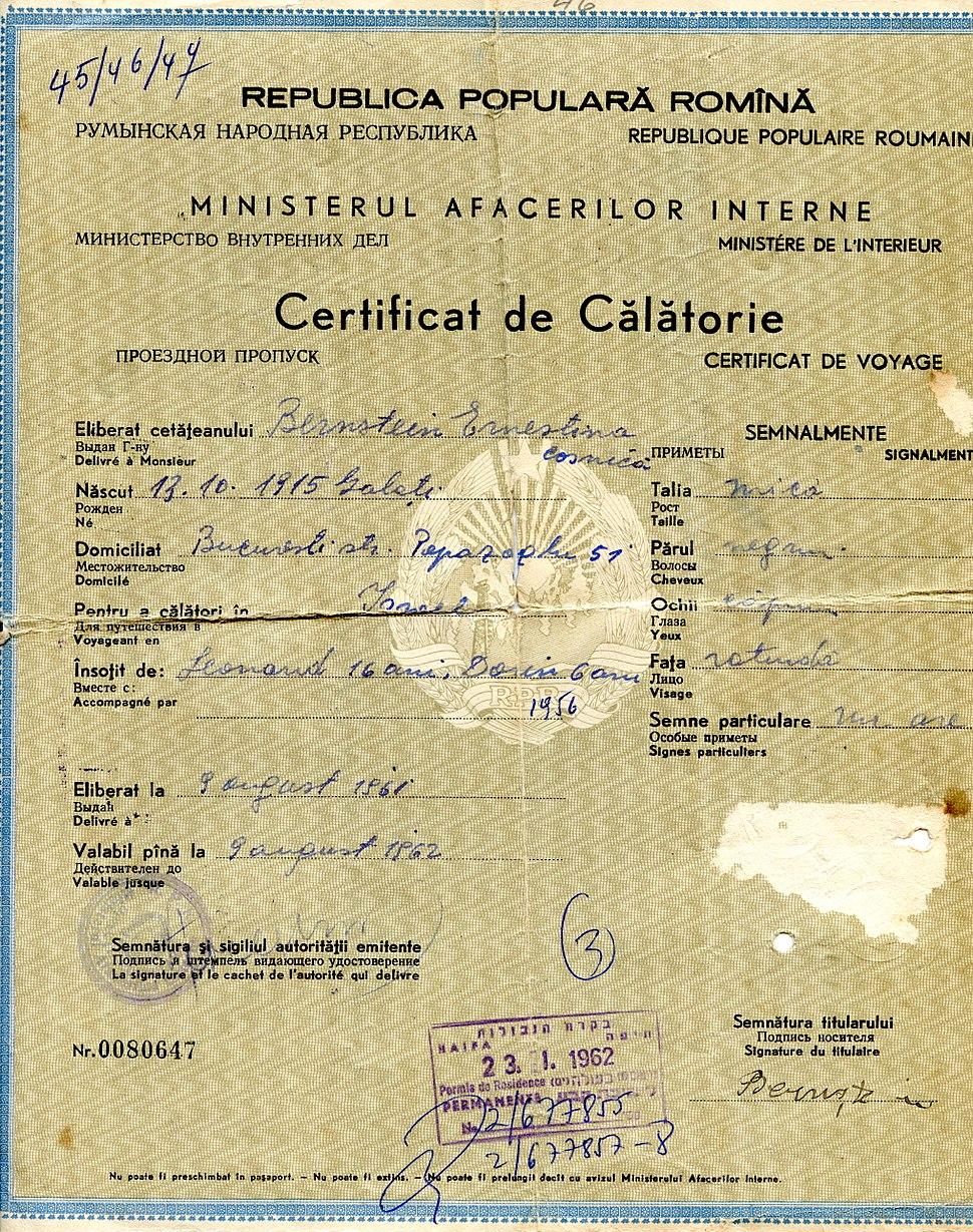 Certificat de Calatorie180