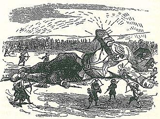 Lemuel Gulliver - Gulliver captured by the Lilliputians (illustration by J.J. Grandville).