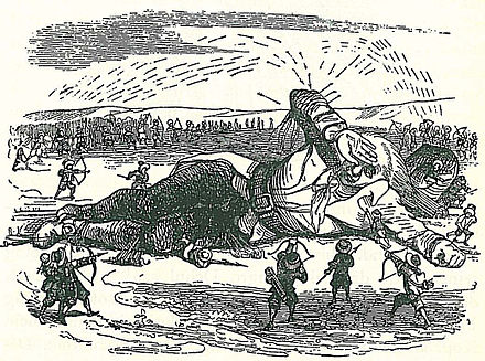 Gulliver captured by the Lilliputians (illustration by J.J. Grandville). Ch 1 Gulliver Grandville 08.jpg