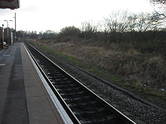 Double-track railway - Rail track after singling, seen at Charlbury station, Oxfordshire, UK (before the line there was redoubled in 2011)