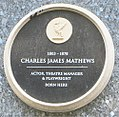 Charles James Mathews (1803-1878) plaque, Basnett Street, Liverpool.jpg