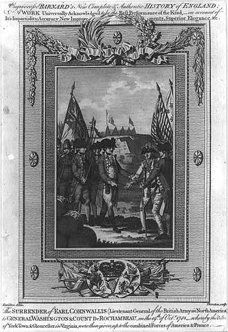Charles O'Hara - General O'Hara surrenders the sword of Lieutenant-General Cornwallis to Count de Rochambeau and General Washington. Anonymous engraving (ca. 1783)