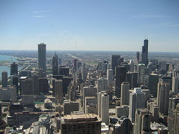 Skyline of Chicago from the John Hancock Center, with Aon Center to the left and the Sears Tower to the right