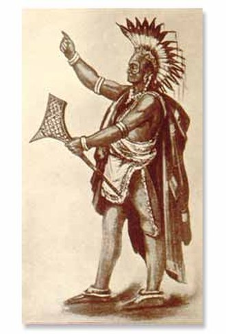 Odawa - Odawa warrior with gunstock war club.
