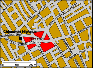 Chinawhite (nightclub) - Map displaying approximate location near Piccadilly Circus of the original Chinawhite nightclub in central London