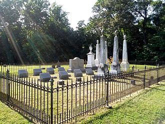 Port Tobacco Village, Maryland - graveyard next to outline of historic Christ Church in Port Tobacco (building moved to La Plata)