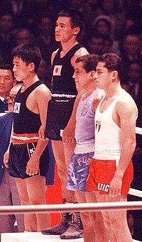 Chung Shin-cho, Takao Sakurai, Washington Rodríguez, Juan Fabila Mendoza 1964.jpg