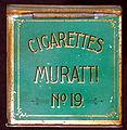 Cigarettes Muratti No 19 cigarettes tin, back.JPG