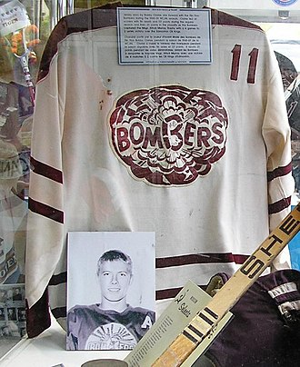 Western Hockey League - Bobby Clarke's Bombers jersey on display at the 2007 Memorial Cup in Vancouver, British Columbia.