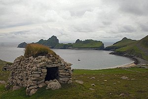 Dùn, St Kilda - A cleit above Village Bay, Hirta. Dùn can be seen in the background