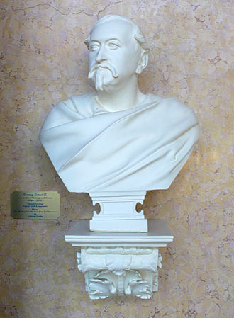 Ernest II, Duke of Saxe-Coburg and Gotha - A bust of Ernest at the Landestheater in Coburg. Ernest was a strong enthusiast for music and plays all his life, and was the artistic force behind many that were popular in Germany.