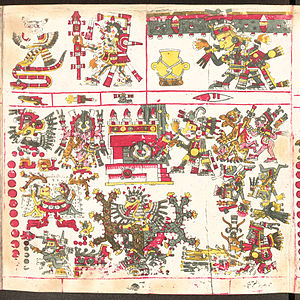 Aztec mythology - Huitzilopochtli is raising up the skies of the South, one of the four directions of the world, surrounded by their respective trees, temples, patterns and divination symbols.