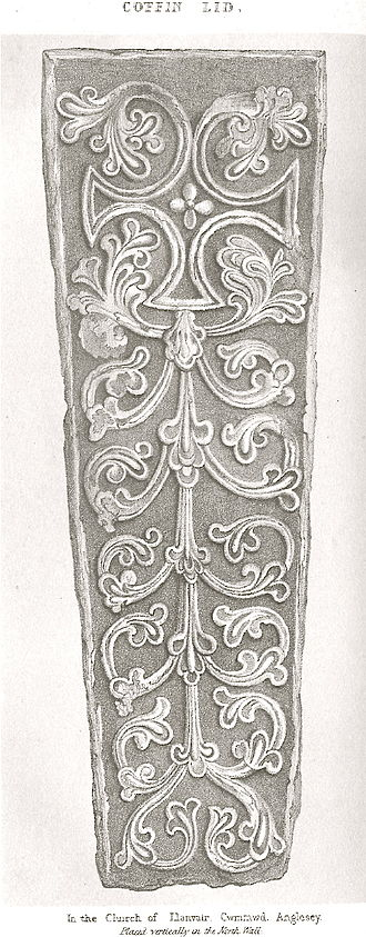 St Mary's Church, Llanfair-yn-y-Cwmwd -  Coffin lid on N wall of chancel. Drawn by Harry Longueville Jones, Archaeologia  Cambrensis, 1846 pg 394