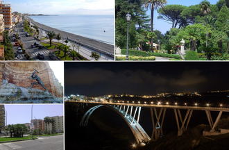 Catanzaro - Panorama of Catanzaro, Top left: Panorama view of Crotone Street and Ionian Sea at Catanzaro Lido, Top right: Statue of Bernardino Grimaldi in Margheria Park (Villa Margheria), Bottom upper left: Cavatore Fountain in Matteotti Square (Piazza Matteotti), Bottom lower left: Filippos Avenue (Viale de Filippis), Bottom right: Night view of Morandi Viaduct Bridge
