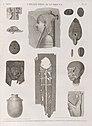 Collection d'antiques. 1.4.13.14. Fragmens de bas-reliefs; 2.3.7.8. Amulettes en forme de scarabée et autres; 5.6.12. Lampes et vase; 9.11. Masque et tête en bois; 10. Tunique (NYPL b14212718-1268241).jpg