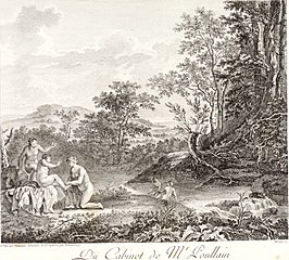 Women Bathing in a River with a Waterfall