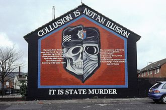 State-sponsored terrorism - A mural in Belfast graphically depicting the collusion between British security forces and Ulster loyalist groups.