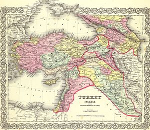 Ingushetia - 1855 Atlas Map of Turkey and the North Caucasus. Map of the American cartographer J.H.Colton. Top right corner, Ingushetia is labeled as Gelia, with Ingush cities: Nasra (Nazran), and Wladikaukas (Vladikavkaz) with Daryal Pass running on the west side of Gelia.