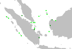 Distribution of the silvery pigeon. Verified records are light, unconfirmed ones dark green.