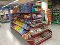 Confectionary and candy at display in Kiwi Allehelgensgate grocery store-supermarket in Bergen, Norway 2017-10-18 a.jpg