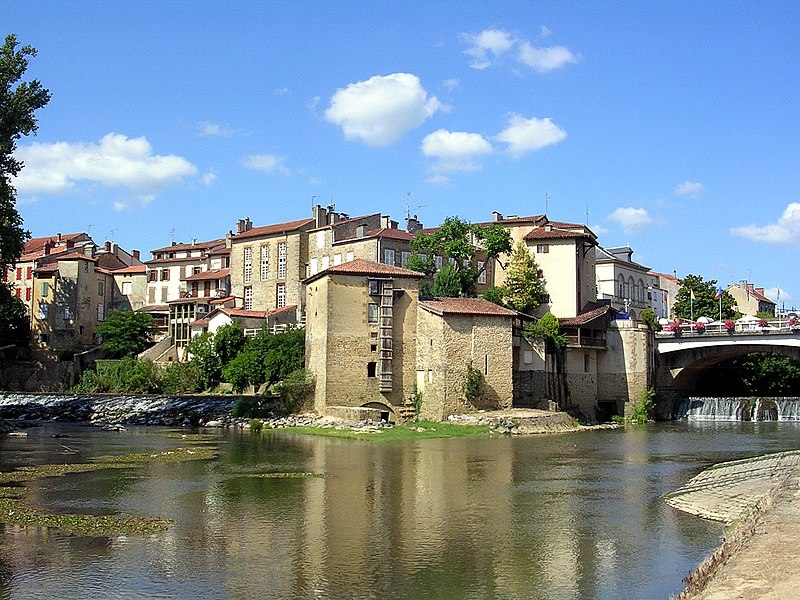 Confluence of the rivers Douze and Midou in Mont-de-Marsan, France.