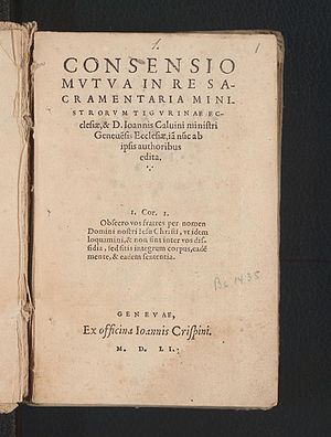 Consensus Tigurinus - Title page of 1551 Geneva edition