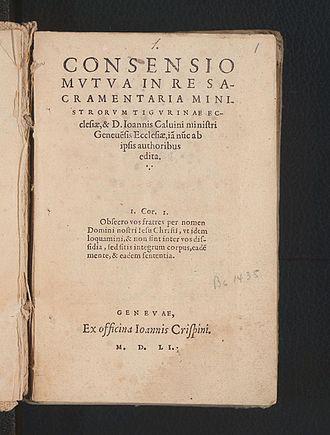 Consensus Tigurinus - Title page of 1551 Geneva edition
